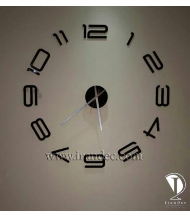 نمونه نصب شده ساعت دیواری مدرن رنگ مشکی با عقربه معمولی بلند