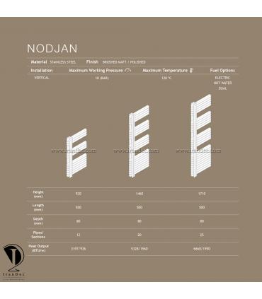 مشخصات فنی حوله خشک کن استیل مدل NODJAN