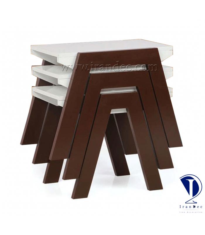 میز عسلی چوبی مدل رز رنگ قهوه ای (سوخته)