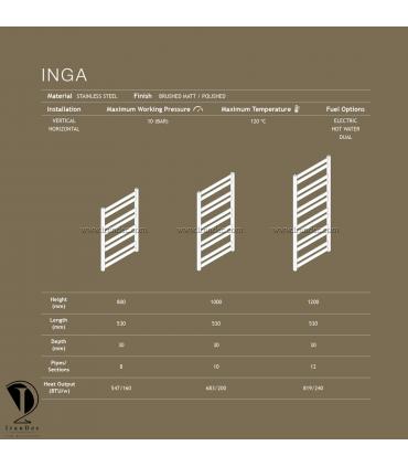 مشخصات فنی حوله خشک کن استیل مدل INGA