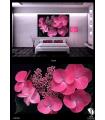 تابلو بک لایت طرح گل صورتی رنگ کد N950
