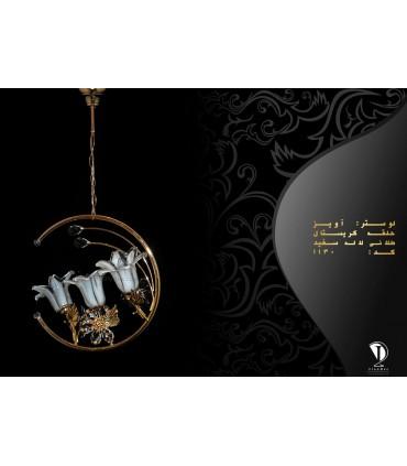 لوستر آویز حلقه کریستالی طلایی