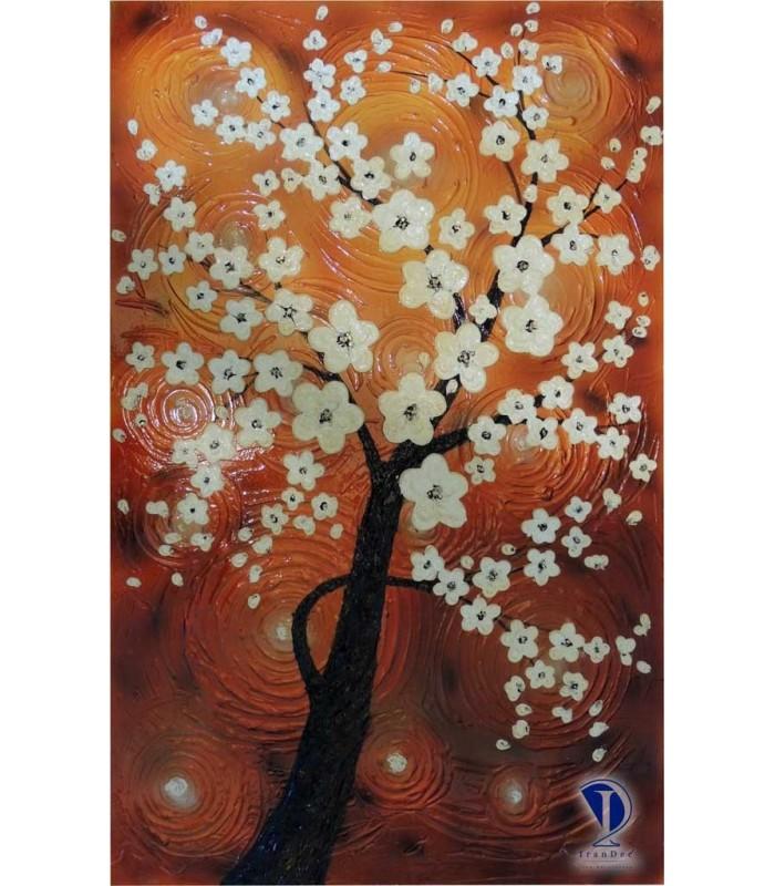 تابلو گل برجسته شکوفه سفید