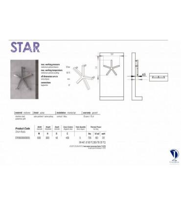 مشخصات فنی حوله خشک کن استیل مدل STAR