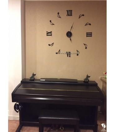ساعت دیواری پیانو رنگ مشکی با عقربه کلاسیک