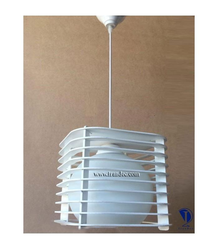 لوستر چوبی تک لامپ سفید کد T101W