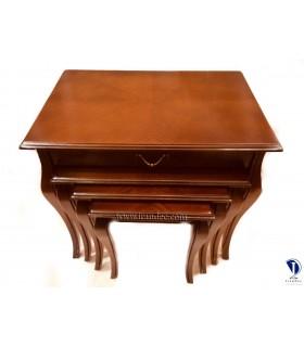 میز عسلی چوبی چهار تیکه کشودار بلوط
