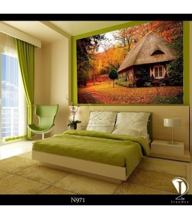 تابلو طرح کلبه جنگلی کد N971