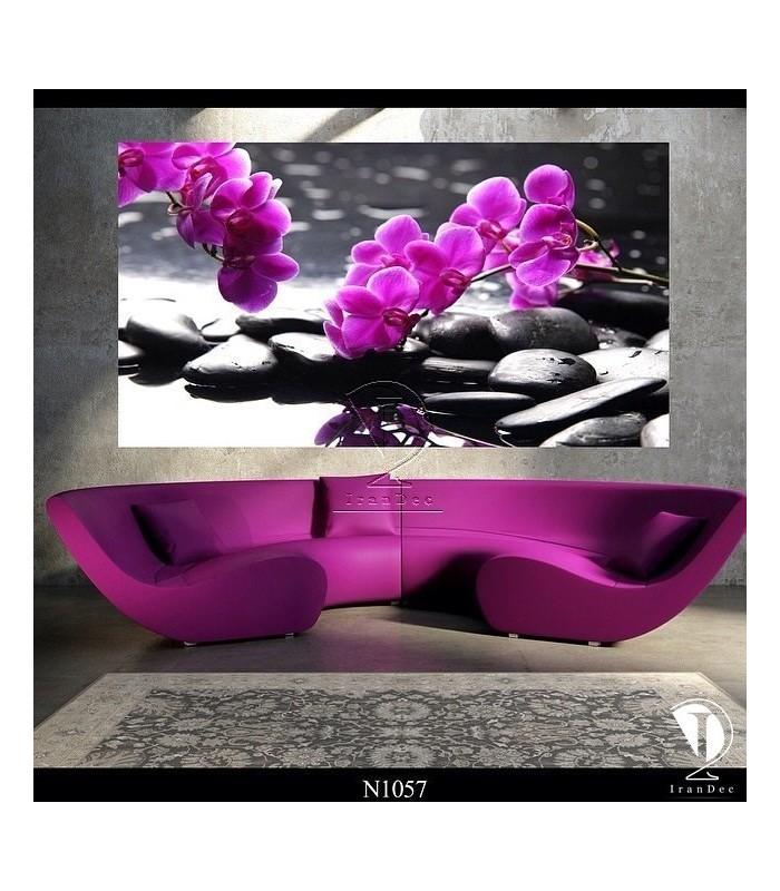 تابلو طرح گل بنفش کد N1057