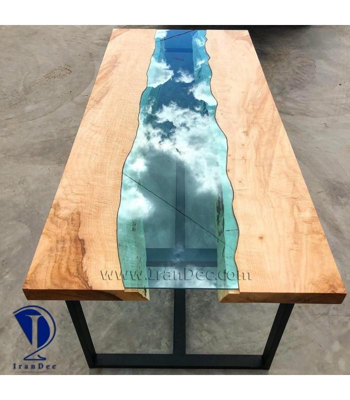 میز چوب و شیشه مدل اقیانوسی