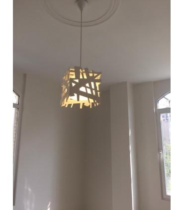 لوستر چوبی تک لامپ سفید کد C101W