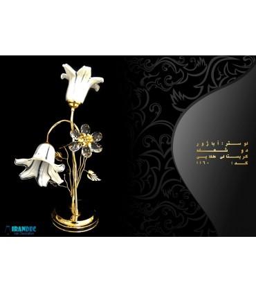 آباژور رومیزی دو شعله کریستالی طلایی