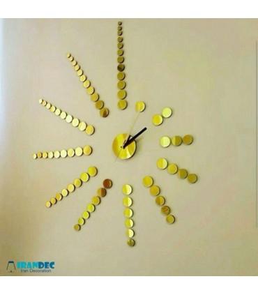 نمونه نصب شده ساعت دیواری طرح خورشید رنگ طلایی با عقربه معمولی