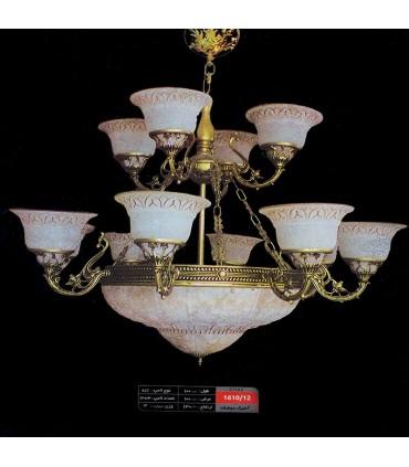 لوستر آنتیک  کد 1610 طرح برنز 12 شاخه