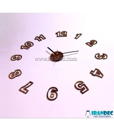 نمونه نصب شده ساعت دیواری مدرن رنگ طلایی با عقربه معمولی