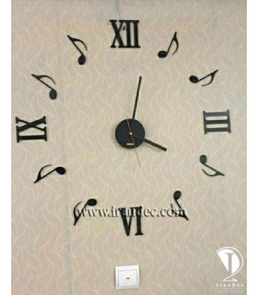 ساعت دیواری هنری رنگ مشکی با عقربه معمولی